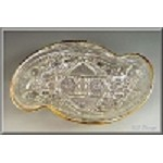 EAPG McKee Glass Pres Cut Fentec Spoon Tray with Gold Gilt Edging