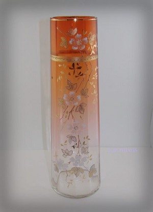 Beautiful Moser Gilded and Enameled Amber to Rose Shaded Vase